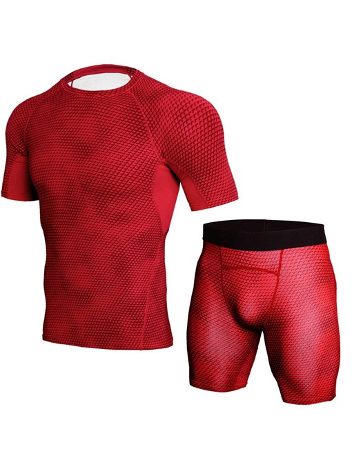 Ericdress Men's Breathable Short Sleeve Shorts Workout Suit