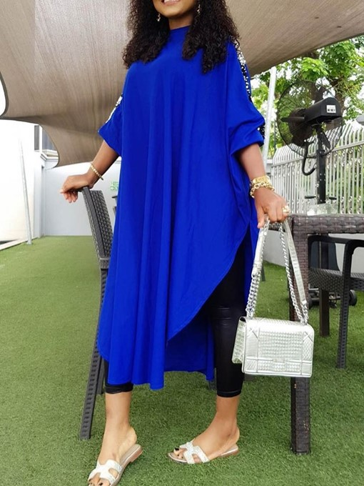 Ericdress Round Neck Mid-Calf Batwing Sleeve Plus Size Plain Dress