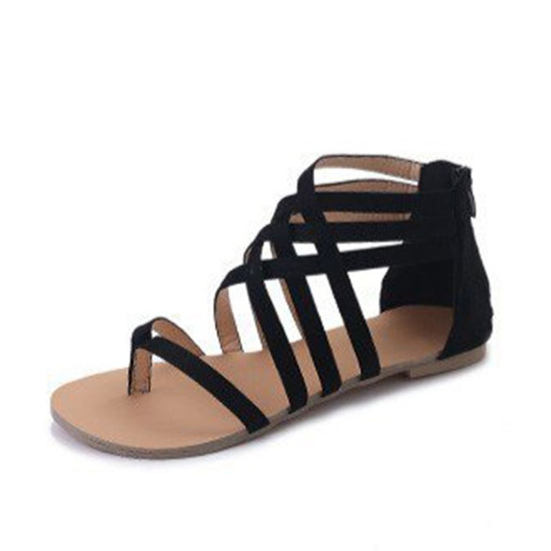 Ericdress_PU_Thong_Zipper_Block_Heel_Womens_Flat_Sandals