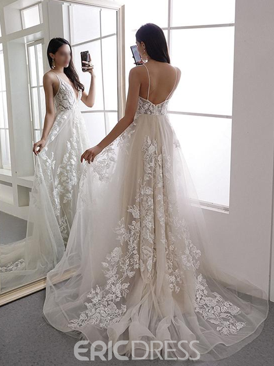Ericdress Spaghetti Straps Lace Hall Wedding Dress 2019