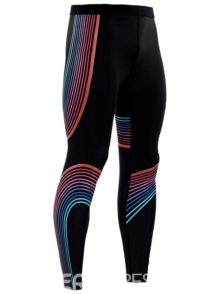 Ericdress Men's Breathable Stripe Print Workout Leggings