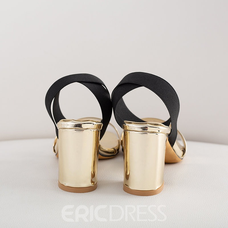 Ericdress Elastic Band Chunky Heel Open Toe Women's Sandals