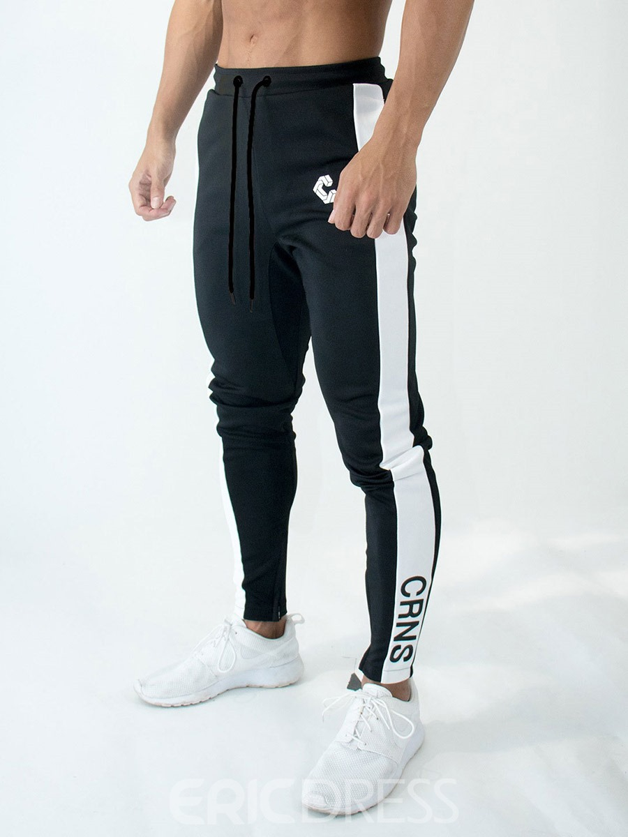 Ericdress Print Cotton Letter Zipper Men's Sports Pants