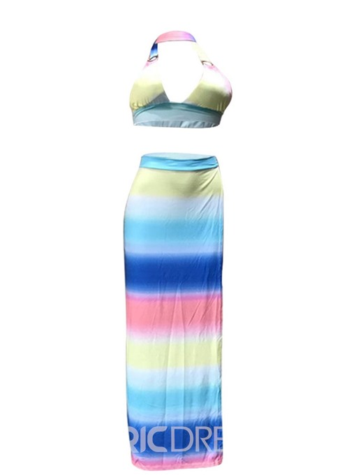 Ericdress Color Block Split Sexy Lace-Up Vest And Skirt Two Piece Sets
