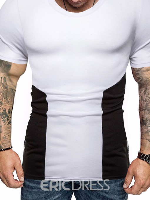 Ericdress Color Block Casual Round Neck Mens T-shirt