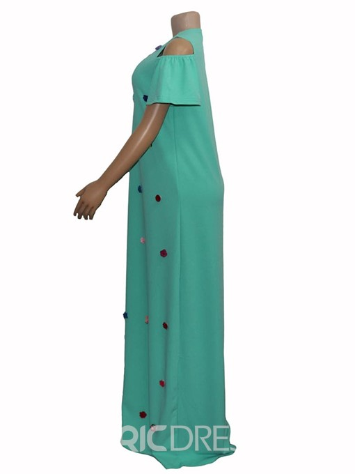 Ericdress Casual Round Neck Cold Shoulder Mid Waist Maxi Dress