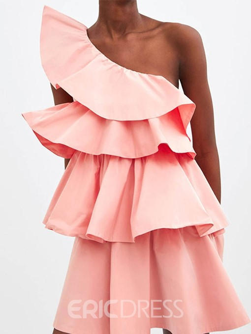Ericdress Above Knee Sleeveless Pleated Oblique Collar Pullover Layered Dress