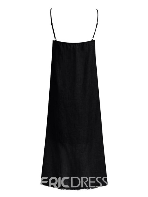 Ericdress Square Neck Ankle-Length Sleeveless A-Line Casual Dress