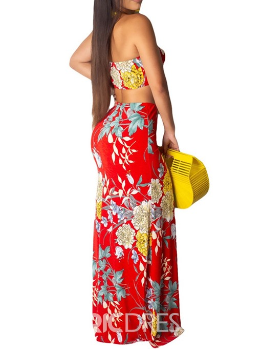 Ericdress Print Office Lady Floral Sexy Floor Length Vest And Skirt Two Piece Sets