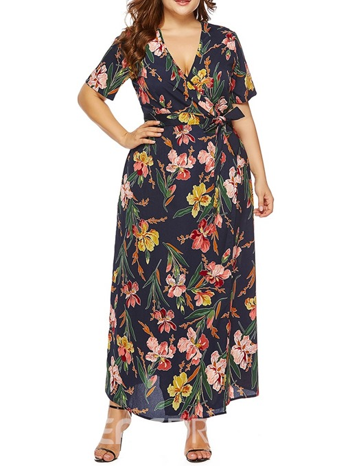 Ericdress Plus Size Print V-Neck Ankle-Length Beach Look Pullover Dress