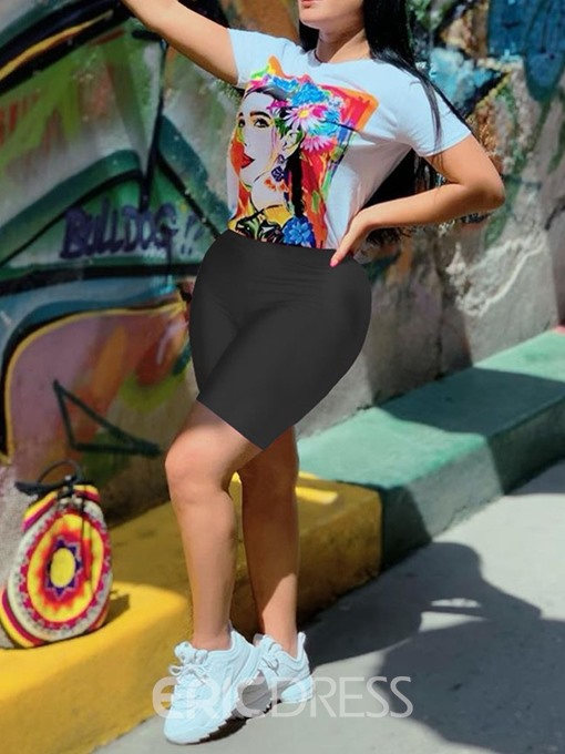 Ericdress Office Lady Print Cartoon Pullover Round Neck Two Piece Sets