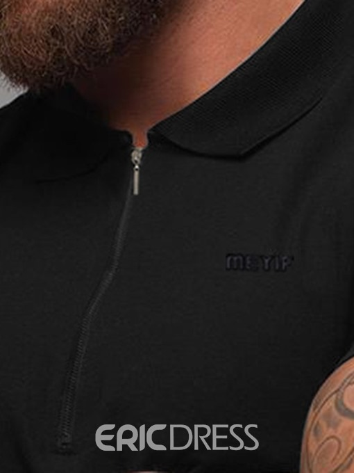 Ericdress Lapel Embroidery Casual Men's Slim T-shirt