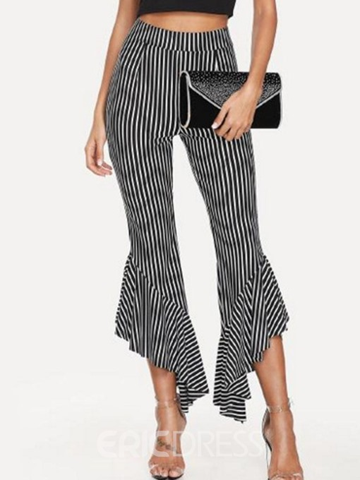 Ericdress Slim Stripe Casual Flare Pants