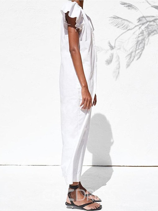Ericdress Plain White Ankle Length Button Loose Jumpsuit