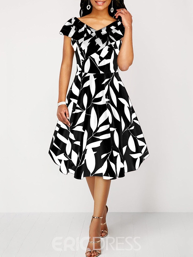 Ericdress Mid-Calf Print Cap Sleeve A-Line Elegant Dress