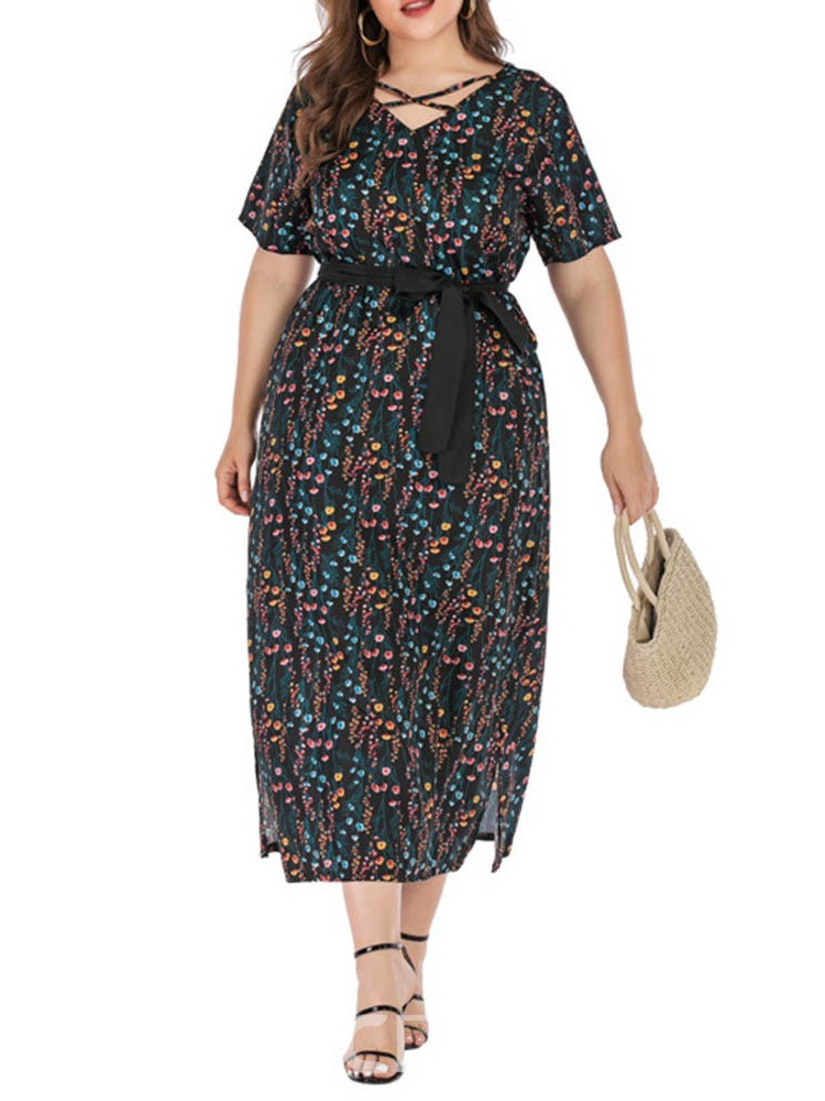 Ericdress Plus Size Floral Print Short Sleeve V-Neck Travel Look Dress