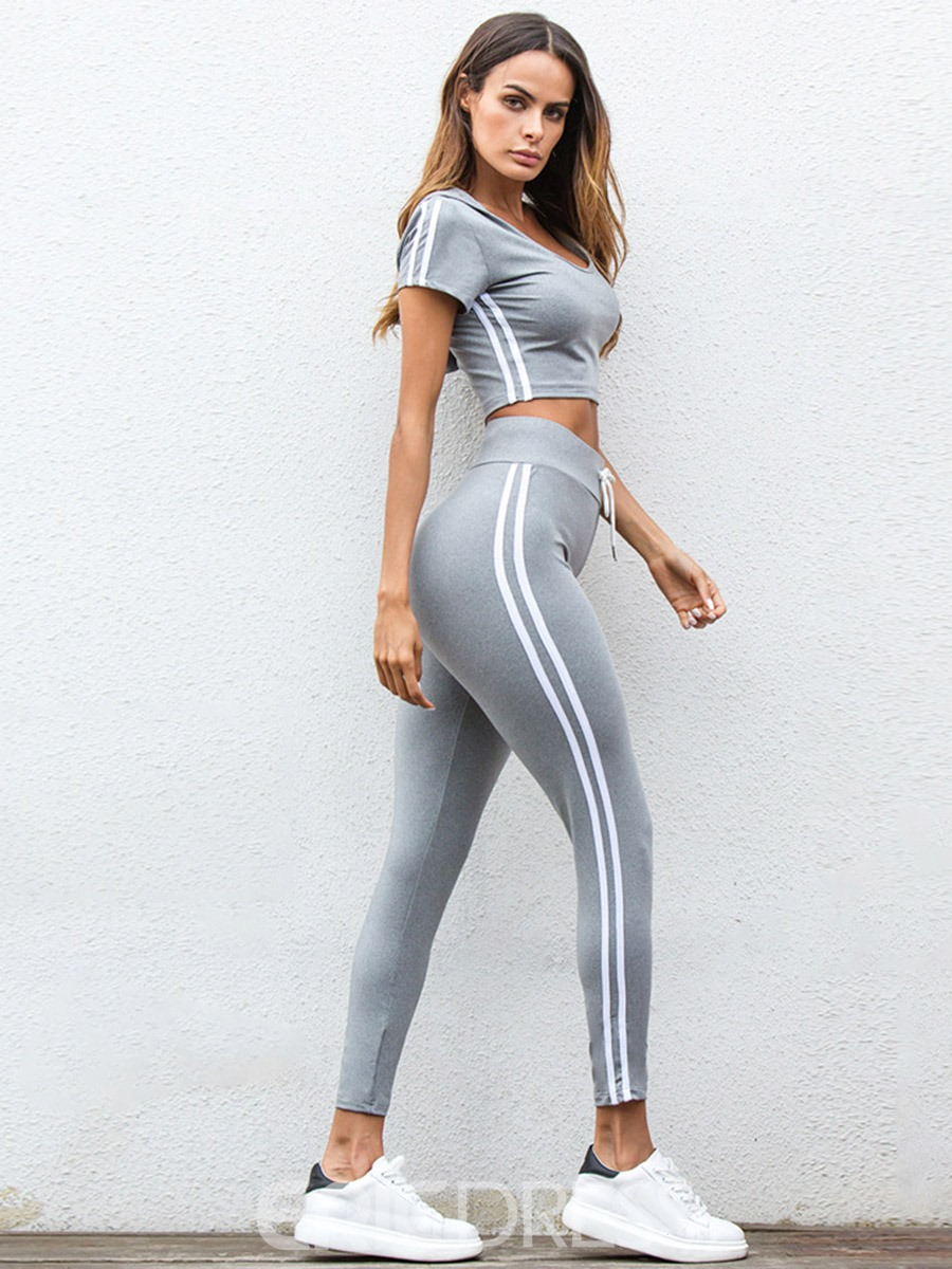 Ericdress Women Hooded Quick Dry Stripe Pullover Running Sports Sets