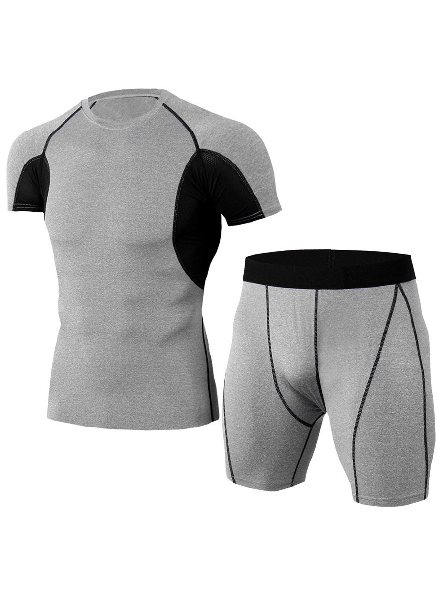 Ericdress Men's Color Block Shorts Sports Set