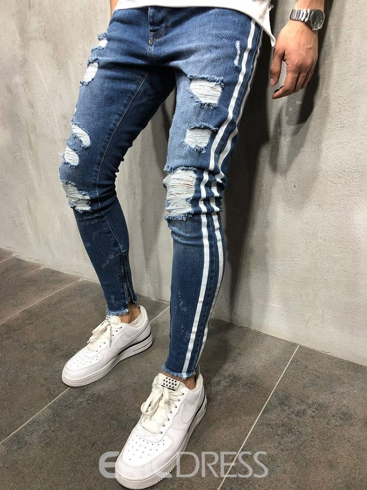 Ericdress Pencil Pants Stripe Hole Mid Waist European Men's Jeans