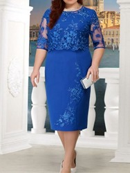 Ericdress Plus Size Lace Half Sleeve See-Through Regular Bodycon Dress фото