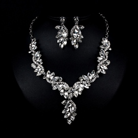 Diamante Floral Earrings Jewelry Sets (Wedding)