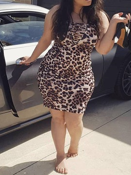 Ericdress Plus Size Leopard Bodycon Sleeveless Above Knee Dress
