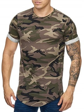 Ericdress Camouflage Zipper Round Neck Mens Slim T-shirt
