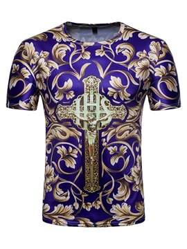 Ericdress Round Neck Print Floral Mens Slim T-shirt