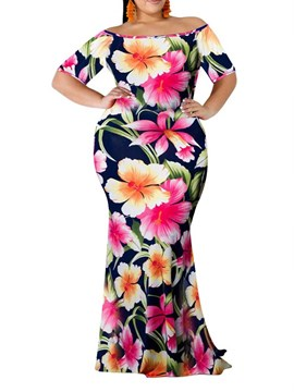 Ericdress Plus Size Floor-Length Floral Off Shoulder Pullover Mermaid Dress