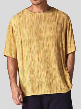 Ericdress Pleated Round Neck Plain Loose Mens T-shirt