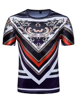 Ericdress Round Neck Casual Print Dashiki Mens Straight T-shirt
