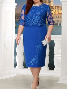 Ericdress Plus Size Lace Half Sleeve See-Through Regular Bodycon Dress