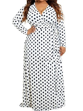 Ericdress Plus Size Polka Dots V-Neck Casual Floor-Length High Waist Dress
