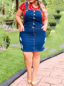 Ericdress Plus Size Denim Hole Above Knee Plain Pocket Dress