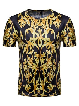 Ericdress Floral Round Neck Dashiki Straight Mens T-shirt