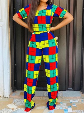 Ericdress Plaid Color Block Patchwork T-Shirt And Pants Two Piece Sets