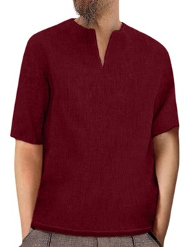 Ericdress Plain V-Neck Loose Mens T-shirt