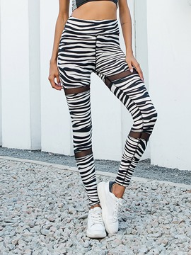 Ericdress Women Zebra Stripe Print Summer Gym Sports Leggings