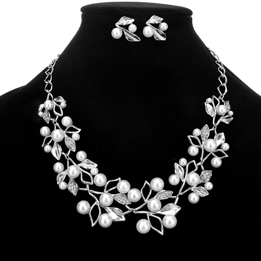 Floral Pearl Inlaid Earrings Jewelry Sets (Wedding)
