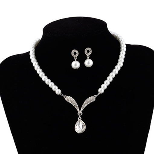 Water Drop European Pearl Inlaid Jewelry Sets (Wedding)