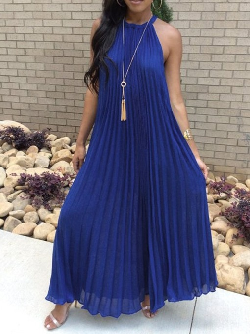 Ericdress Sleeveless Pleated Ankle-Length Casual Halter Dress