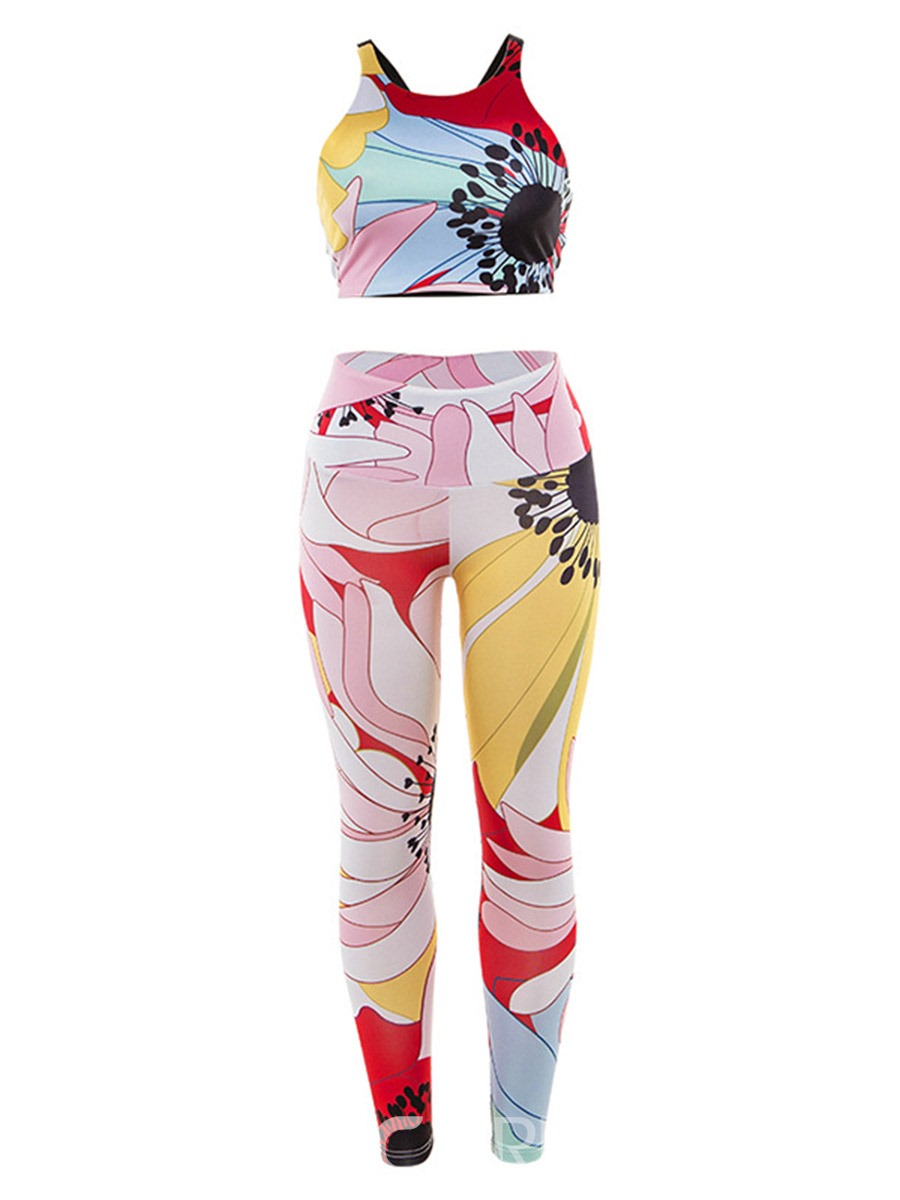 Ericdress Women Print Floral Pullover Running Sports Sets