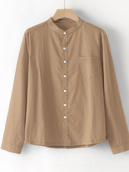 Ericdress Stand Collar Plain Pocket Single-Breasted Mens Loose Shirt