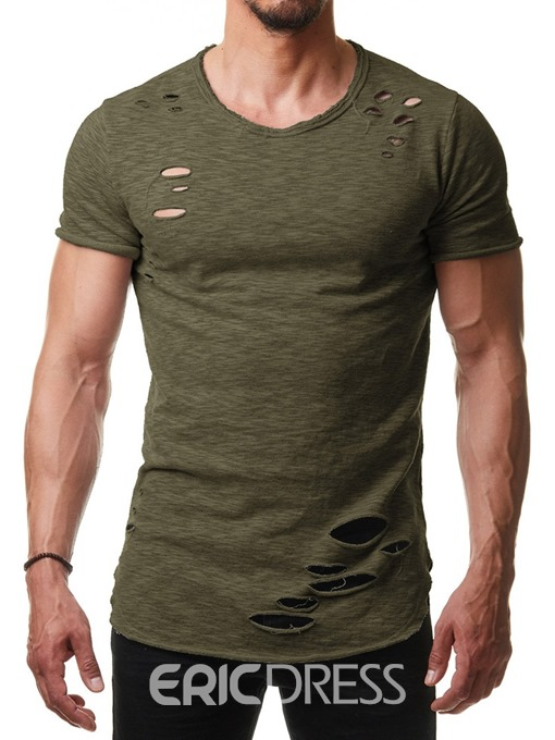 Ericdress Round Neck Casual Plain Mens Loose T-shirt
