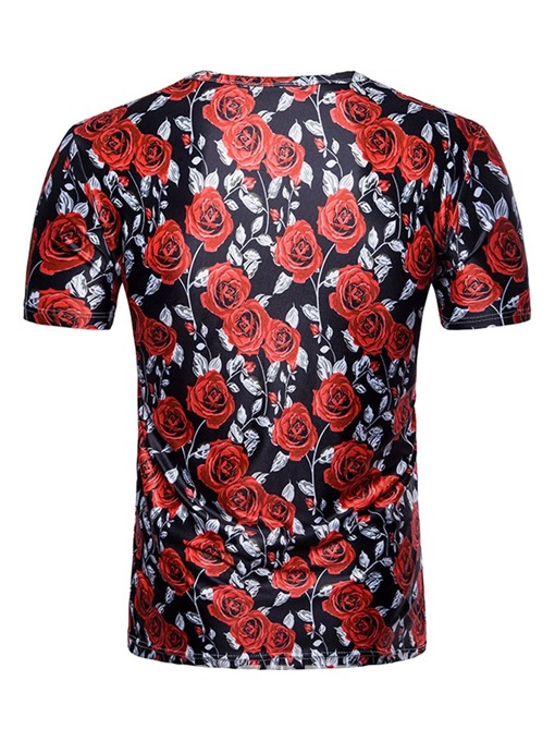 Ericdress Round Neck Casual Floral Mens Straight T-shirt