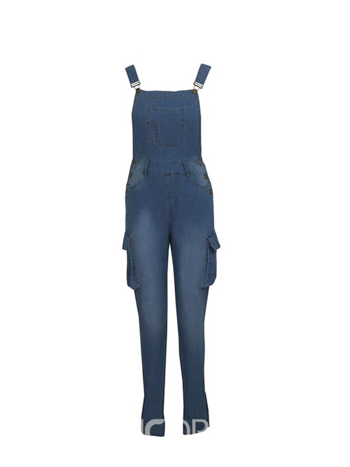 Ericdress Plain Pocket Slim Suspenders Jumpsuit