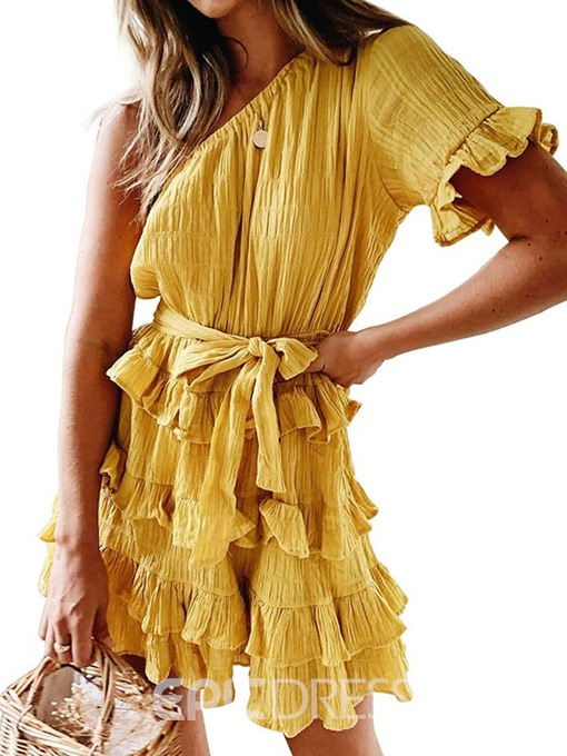 Ericdress Oblique Collar Pleated Above Knee Travel Look Layered Dress Dress