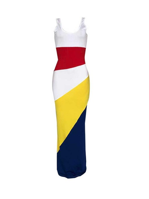 Ericdress Patchwork Sleeveless Ankle-Length Color Block Pencil Dress