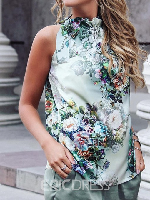 Ericdress Pleated Polyester Floral Sexy Tank Top