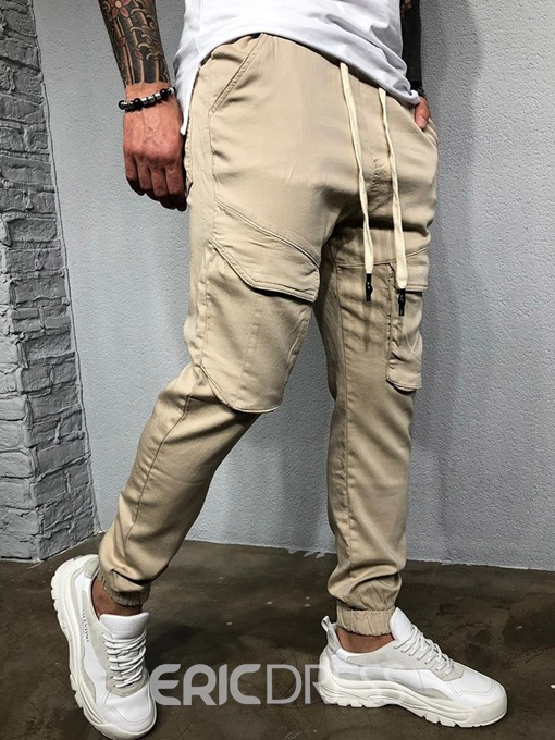 Ericdress Plain Lace-Up Overall Four Seasons Mens Casual Pants